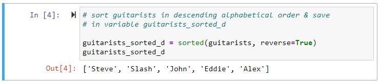 sorted descending alphabetical