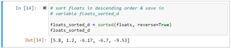 sorted descending floating point list