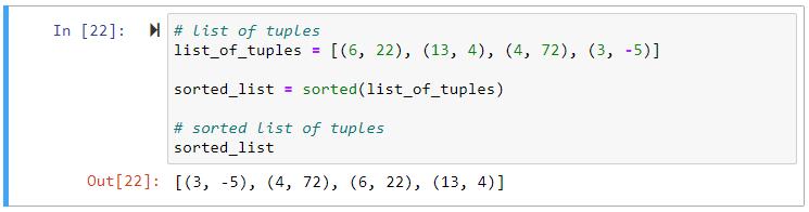 sorted list of tuples