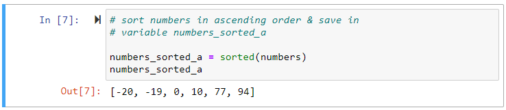 sorted numbers ascending