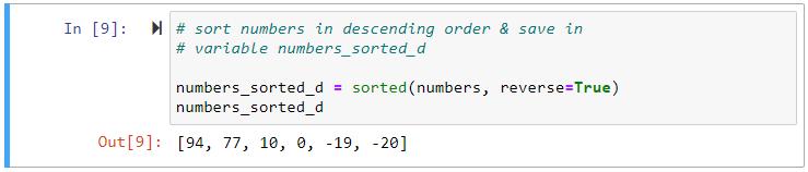 sorted numbers descending