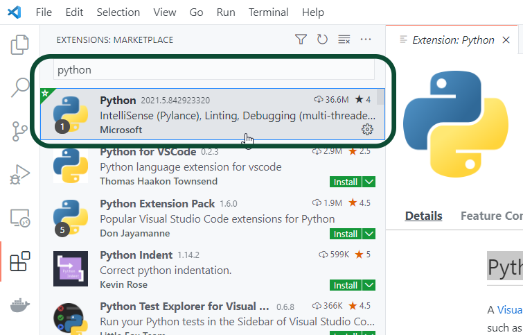 Python Extension for VS Code by Microsoft