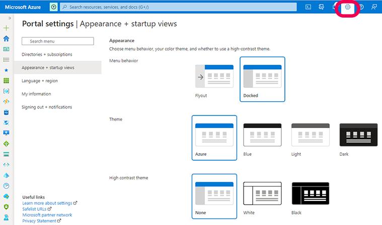 azure portal settings options