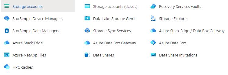 azure portal storage services